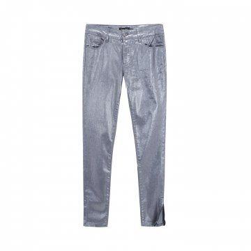 银色修身拉链窄脚裤