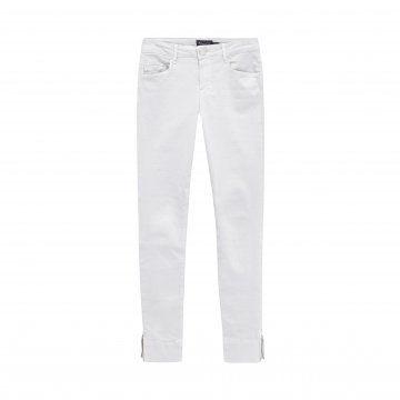 白色修身拉链窄脚裤