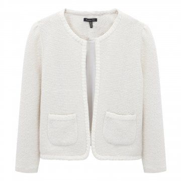 白色无领短外套