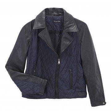 蓝黑色拼接夹克