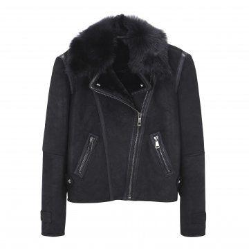 黑色哑光皮草领夹克
