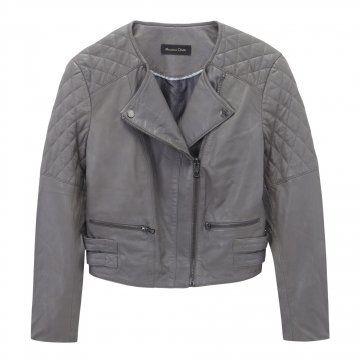 灰色短款机车夹克