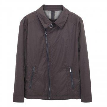 棕灰色翻领夹克
