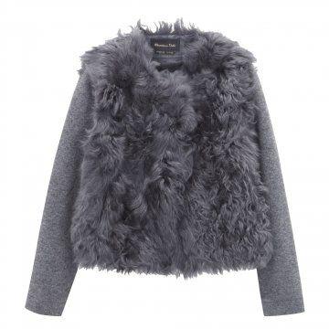 灰色皮草拼接外套