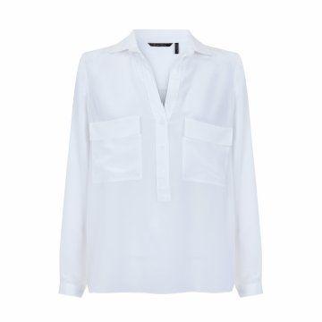 白色贴袋长袖衬衫