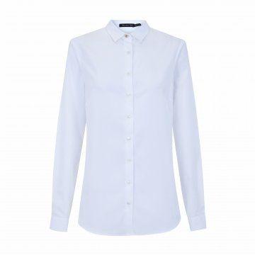 白色修身长袖衬衫