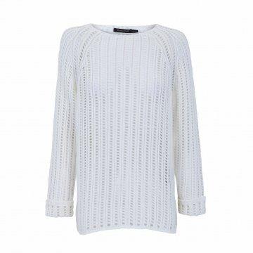 白色镂空长袖针织衫
