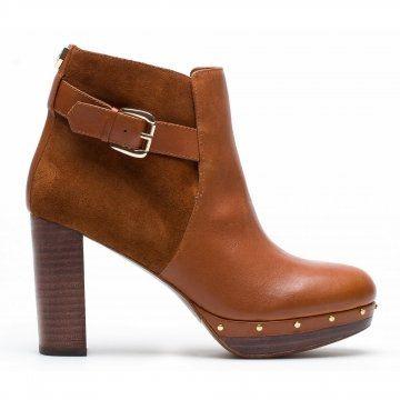 棕色拼接高跟短靴