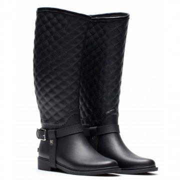 黑色菱格高筒靴
