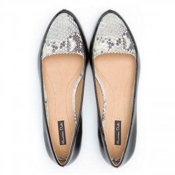 黑色蛇纹拼接平底鞋