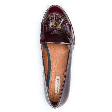 红棕色流苏平底鞋