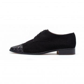 黑色亮片尖头皮鞋