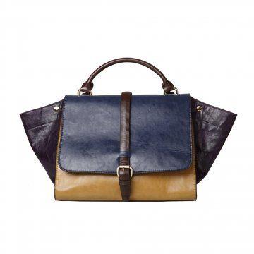 蓝棕拼色拎包