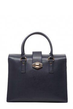 女士深蓝色箱式拎包