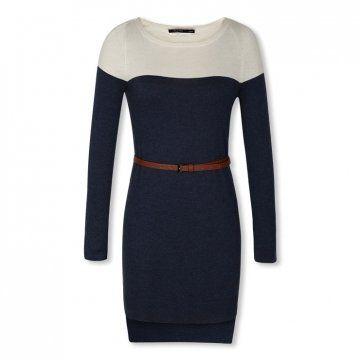 深蓝色毛织连衣裙