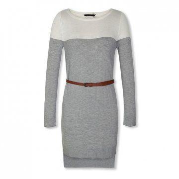灰色毛织连衣裙