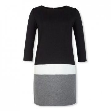 黑白灰拼接连衣裙