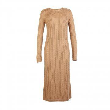 棕色长款针织连衣裙