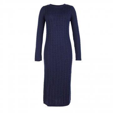 深蓝色长款针织连衣裙