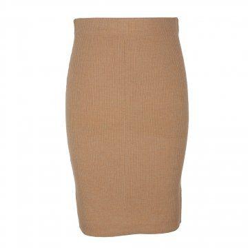 棕色毛织螺纹半裙