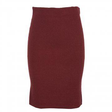酒红色毛织螺纹半裙