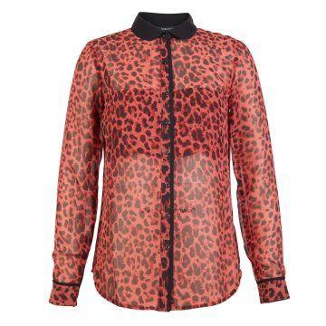 红色豹纹印花衬衫