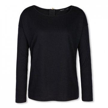 黑色针织长袖T恤