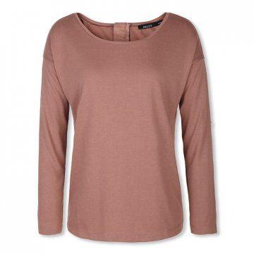 豆沙色针织长袖T恤