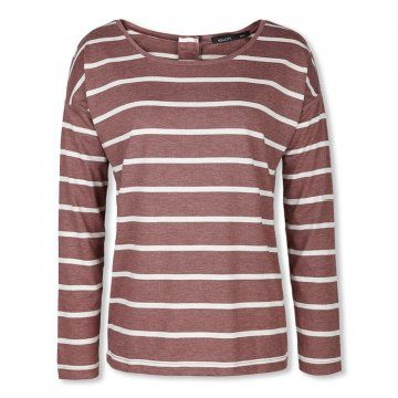 枣红色条纹长袖T恤