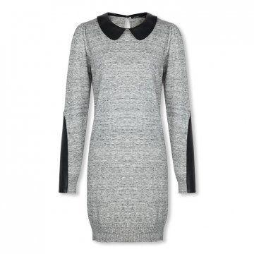 灰色拼皮连衣裙