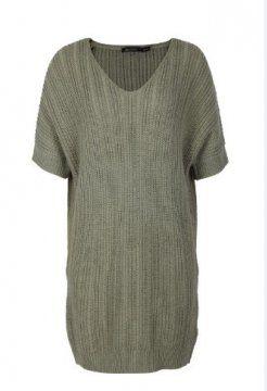 女士短袖长款针织衫
