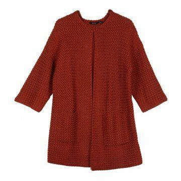 砖红色毛织开衫
