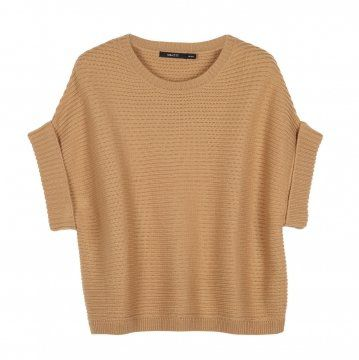 棕色无袖针织上衣
