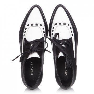 女士真皮黑白款中性鞋