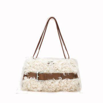 白色皮草小型棕色手拎包