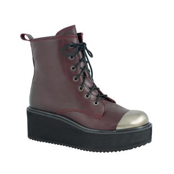 Millie's枣红色铁头系带厚底短靴