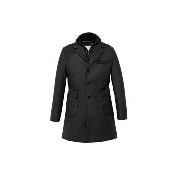棉夹层灰色西服长外套