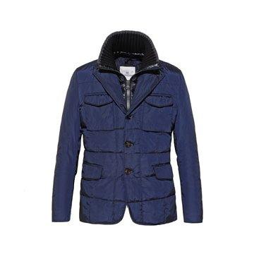 蓝色多口袋立领外套