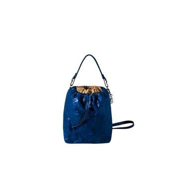 Moncler钴蓝色皮革手提包