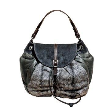 Moncler深灰色拼贴手提包
