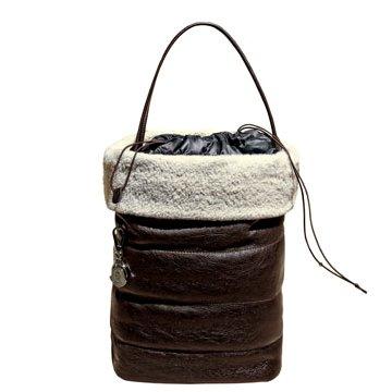 Moncler深咖色皮革手提包