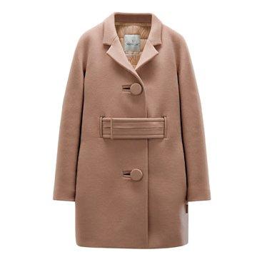 裸色羊毛大衣