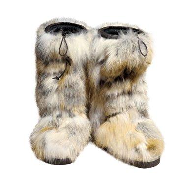皮草平底长靴