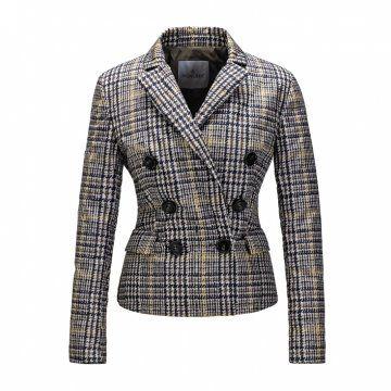 格纹双排扣修身西装外套