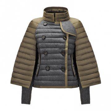 棕灰拼色斗篷式外套