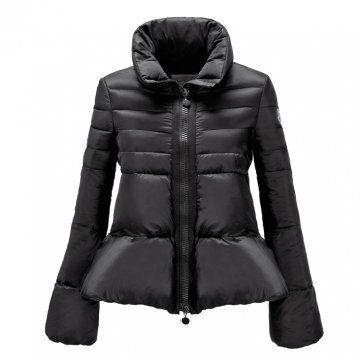 黑色拉链羽绒外套