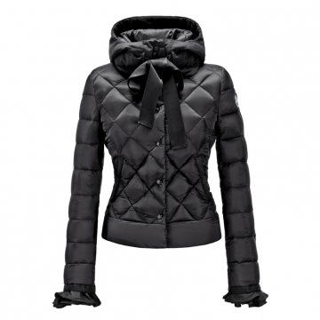 黑色修身短款羽绒外套