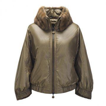 棕色皮草领拉链外套