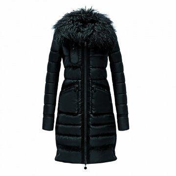 黑色羊毛领长款羽绒大衣