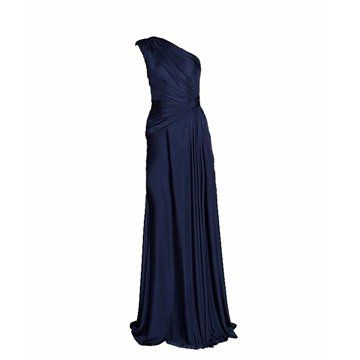 钴蓝色丝绸礼服